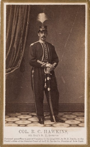 This carte de visite is not from the Library of Congress. And Rush Hawkins is not interred at Green-Wood. But the copyright notice for Mathew Brady at bottom establishes the photographer--and there's that floor again! Note the uniform, which matches that worn by Lieutenant Colonel Kimball.