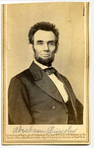 A carte de visite portrait of President Abraham Lincoln.