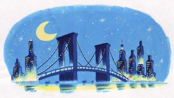 Moon over New York City.