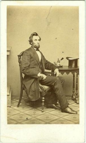 This carte de visite of President-elect Abraham Lincoln was taken on February 24, 1861 at Mathew Brady's photographic studio in Washington, D.C.
