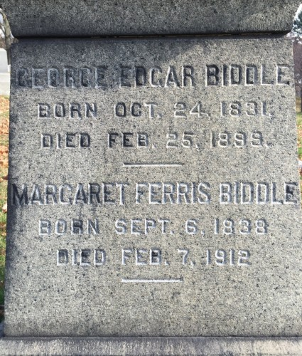 The Biddle headstone, with traces of the blacking of letters.