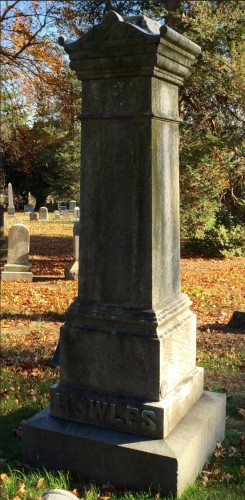 "The order for this plain monument specified ""Bowles in raised letters on base"" and a price of $300."
