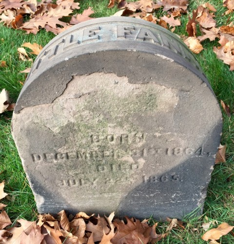 "The brownstone headstone for ""Little Fannie"" was ordered the day that she died."