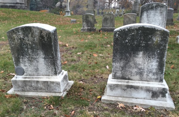 "In 1862, Morris K. Jessup ordered ""7 Italian Marble Headstones"" at $35 each--or $796 in today's money. Here are two of them; others are in the background."