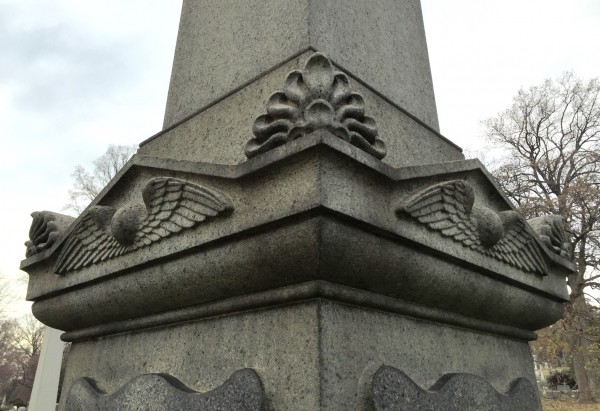 Detail of Pitbladdo's work on the Reed Obelisk. Note the winged globes, resurrectionist symbols. The globe represents eternity--it has no beginning and no end. The wings refer to resurrection--the flight to Heaven.
