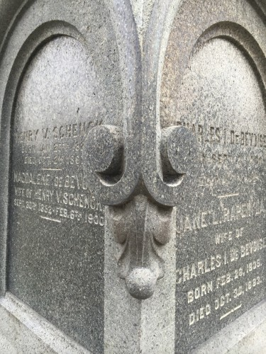 Detail of the Schenck-Debevoise obelisk. Note the wonderful granite carving, a tour de force.