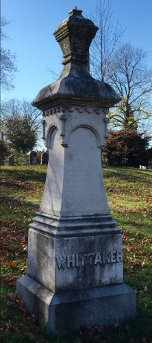 "Mrs. John H. Whitaker placed an order for this Italian Marble Monument ""the same as Jewetts"" on August 26, 1859; she paid $465 ($12,879 in 2015 money) for it."