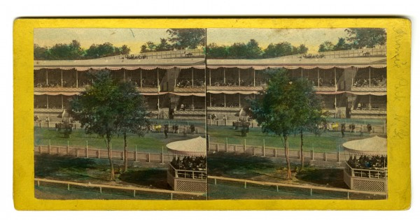 """Grand Stand, Front View."" Published by E. & H.T. Anthony & Co. This is a colorized version, painted by hand; there was no ability to print in color when this was published in the late 1806s."