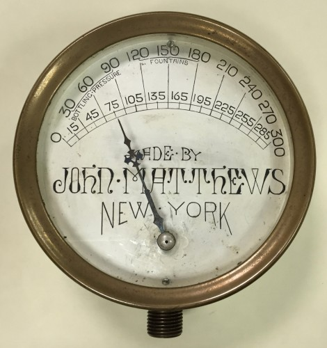 The John Matthews soda fountain gauge.