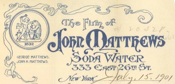 A slightly later letterhead. Note the date 1832 at top left--the year John Matthews founded the company.