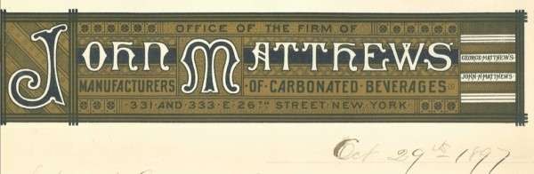 John Matthews sons--John Jr. and William--took over the business after his death. This was their letterhead in 1897.