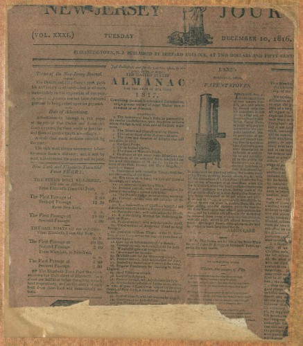 The 1816 newspaper, used by artist Micah Williams as a liner for his portrait of Clarkson Crolius.