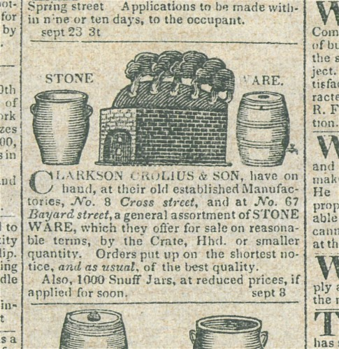 An advertisement for Clarkson Crolius & Son. The Green-Wood Historic Fund.