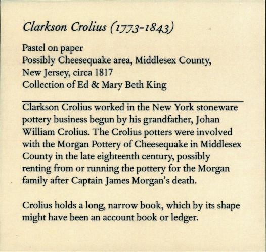The exhibition label for the Clarkson Crolius portrait at