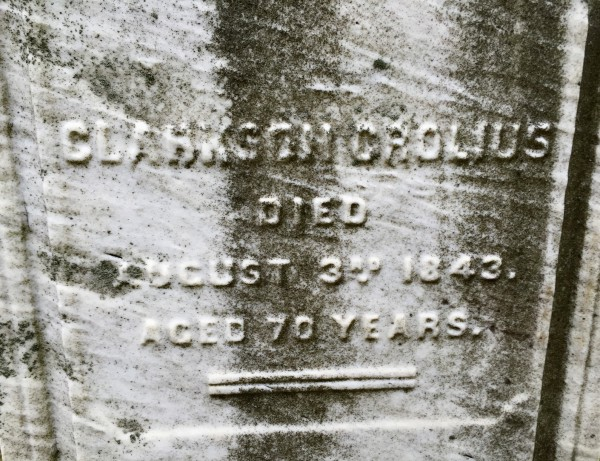 This is the inscription on the left side of the monument, memorializing Clarkson Crolius, Sr., who is the subject of the Micah Williams portrait. An inscription memorializing his son, Clarkson Crolius, Jr., appears on the right side of the monument.