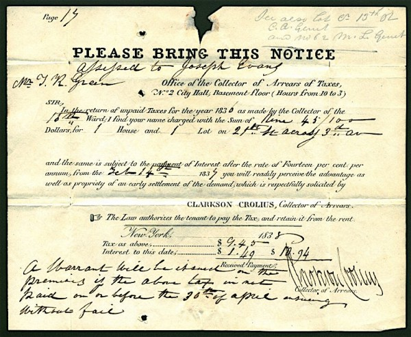This warrant, dated 1838, bears the signature of Clarkson Crolius, Senior, in his capacity as a government official--the The Green-Wood Historic Fund Collections.