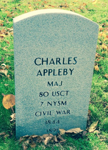 Major Charles Appleby's gravestone. He lay in a Green-Wood grave for