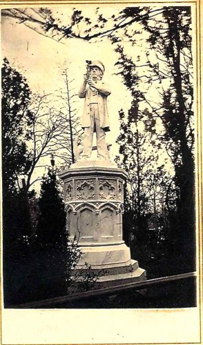 A carte de visite photograph, circa 1865, of the Sea Captain's Monument. Note the sextant in his hands, guiding his journey.