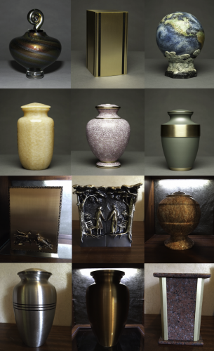 A few of the unique urns available at Green-Wood
