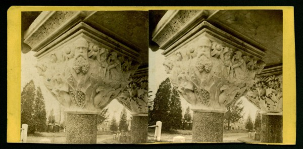 Stereoscopic view of a detail of the Matthews Monument, one of the capitals, circa 1875.