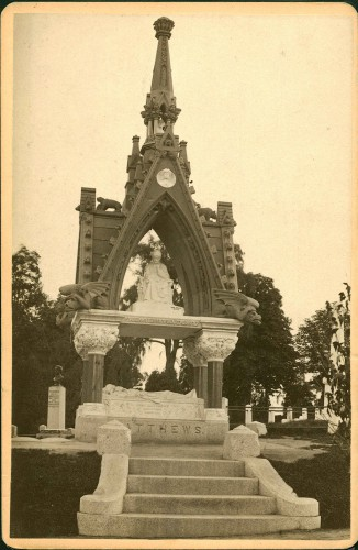 This photograph was taken soon after the Matthews Monument was unveiled at Green-Wood--about 1875-1880.