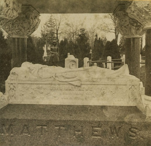 Effigy of John Matthews. Half stereoview, circa 1875.