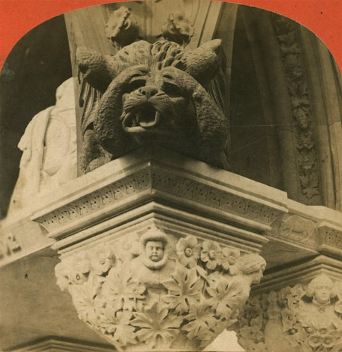 This is one of the four gargoyles at the corners of the Matthew Monument. When it rains, the roof drains through the gargoyles mouths.