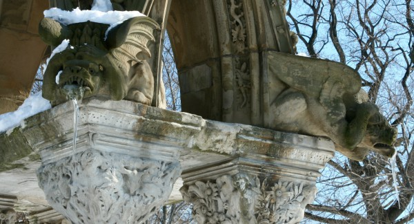 This photograph was a dream come true--I had long hoped to capture icicles in the mouths of the Matthews gargoyles.