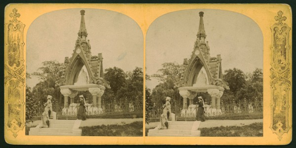 Stereoview of the Matthews Monument, circa 1880, with visitors. Note the wrought iron fence that surrounded the monument in its early years.