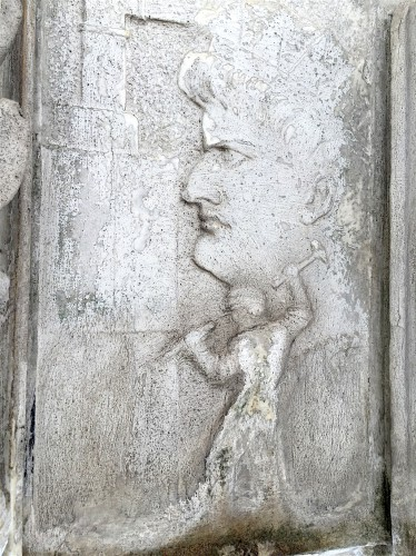 One of the scenes that John Matthews's effigy gets to look at forever and ever. This looks like a sculptor, with hammer in hand, carving away. Note that a rather unattractive woman looms large over his shoulder--is this perhaps Mrs. Matthews, who may have supervised the work on the monument after her husband's death?