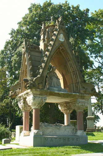 The Matthews Monument today. Though still spectacular, it is diminished from its original glory. Note that the top piece is gone, removed about 35 years ago when it came loose.