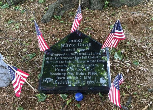 The new Davis gravestone. The epitaph was written by James Whyte Davis more than a century ago.