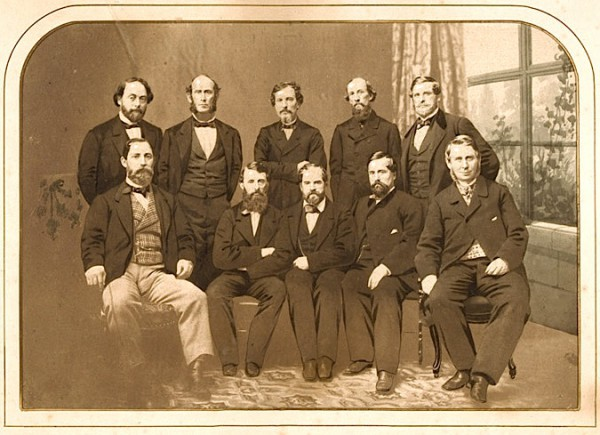 The New York Knickerbockers Base Ball Club, in 1862. James Whyte Davis is seated at center. His teammate, Charles Debost, seated at left, is also interred at Green-Wood.