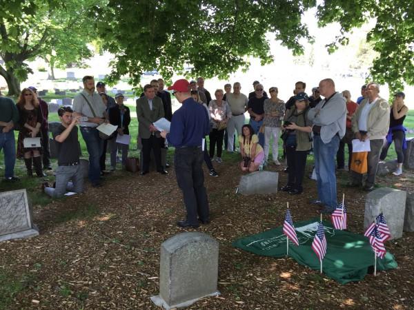 Ralph Carhart led the effort to mark James Whyte Davis's grave.