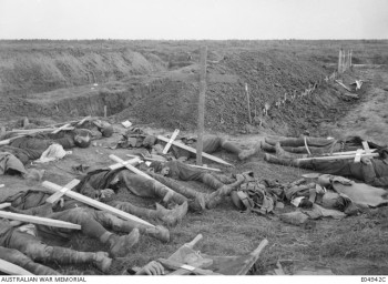 American bodies form the fighting on September 29, 1918, near Gillemont Farm, when men from the 27th American Division attacked over the main Hindenburg Line.