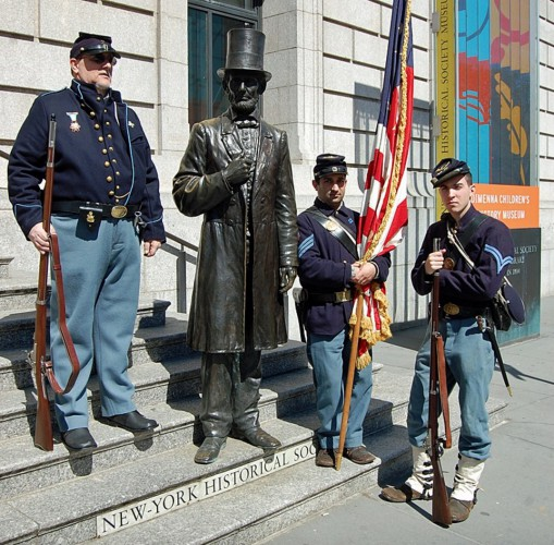 That's Greg Di Salvio at left, on the steps of the New-York Historical Society, with Abraham Lincoln (in bronze) and two of his fellow re-enactors.