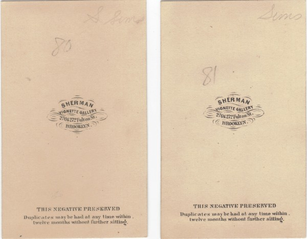 The backs of the carte de visite photographs. The one at left is of the male; the one at right is of the female.