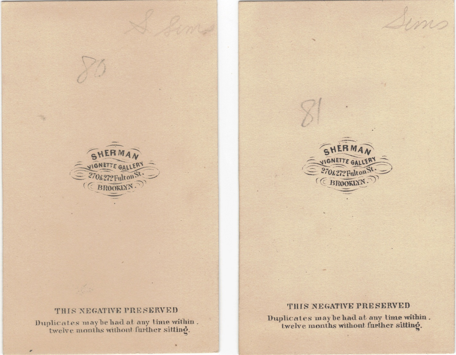 The Backs Of Carte De Visite Photographs One At Left Is