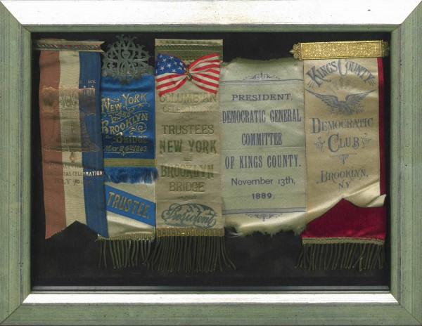 Ribbons collected by James Howell in his capacity as Brooklyn politician and Brooklyn Bridge trustee.