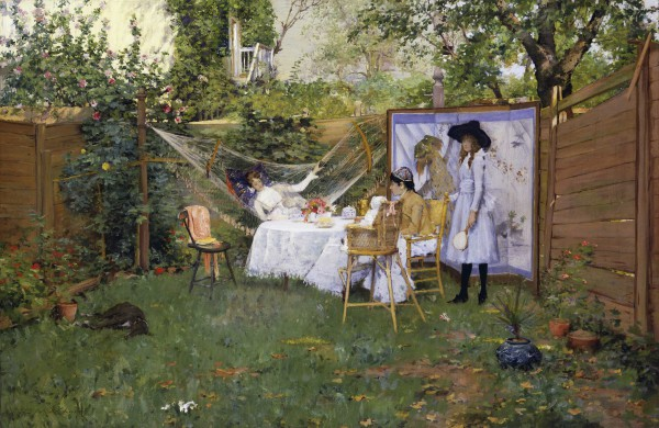 The Open Air Breakfast William Merritt Chase (American, 1849–1916) about 1888 Oil on canvas *Lent by the Toledo Museum of Art; Purchased with funds from the Florence Scott Libbey Bequest in Memory of her Father, Maurice A. Scott *Courtesy, Museum of Fine Arts, Boston