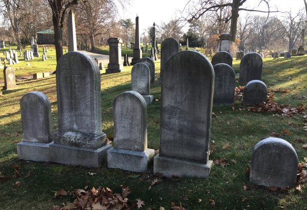 The lot where William Merritt Chase and Alice Gerson Chase are interred. Their gravestone is third from the left in the front row.