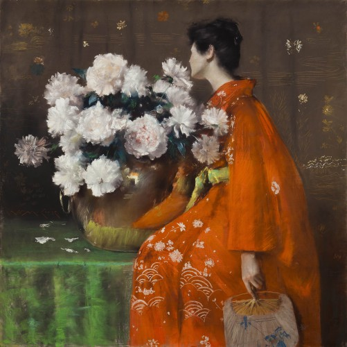 Spring Flowers (Peonies) William Merritt Chase (American, 1849–1916) by 1889 Pastel on paper, prepared with a tan ground, and wrapped with canvas around a wooden strainer *Terra Foundation for American Art, Daniel J. Terra Collection *Courtesy, Museum of Fine Arts, Boston