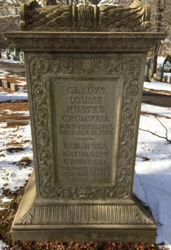 The cenotaph memorializing Gladys and Dorothea Cromwell at Green-Wood is an extraordinary example of early 20th century carving.