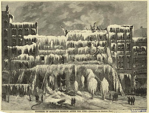 A print of the same fire at Barnum's American Museum. Note the liberties taken in the woodcut--with much ice covering several buildings, an apparent exaggeration for the sake of art.