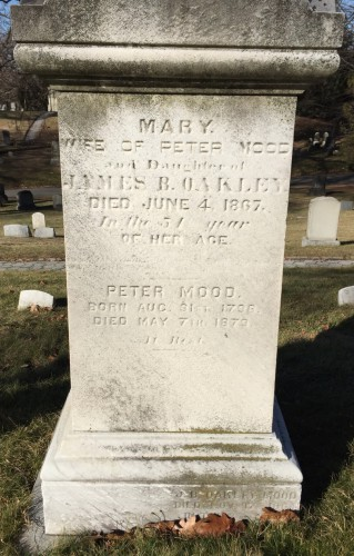 The gravestone of Peter and Mary Mood at Green-Wood. They lie in section , lot .