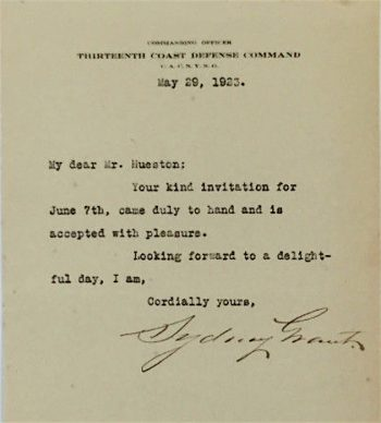 a letter with his signature for an event hosted by the 13th regiment in 1923 sold on ebay in 2017 see below section 72 lot 6367