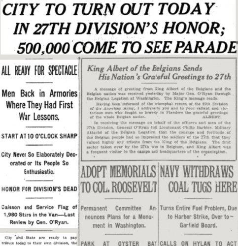 Front page headline in The New York Times of March 25, 1919.