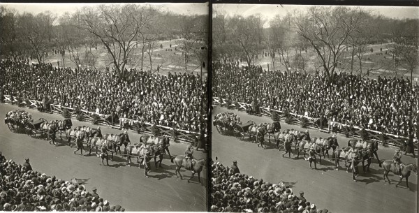 This stereoview of a parade looked like it might have something to do with World War I.
