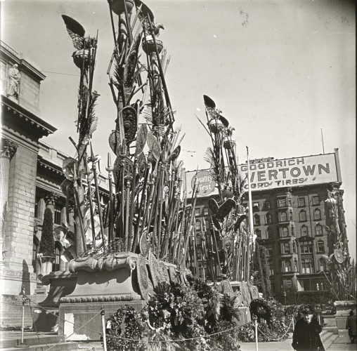 Spears and shields stood in front of the New York Public Library, at the Court of the Heroic Dead.