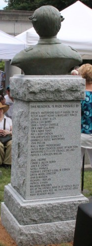 A list of the donors, who made the bronze sculpture and its granite base possible, appears on the back of the monument.